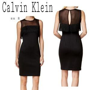Calvin Klein Illsion Mesh Frnge Sheath Dress $149